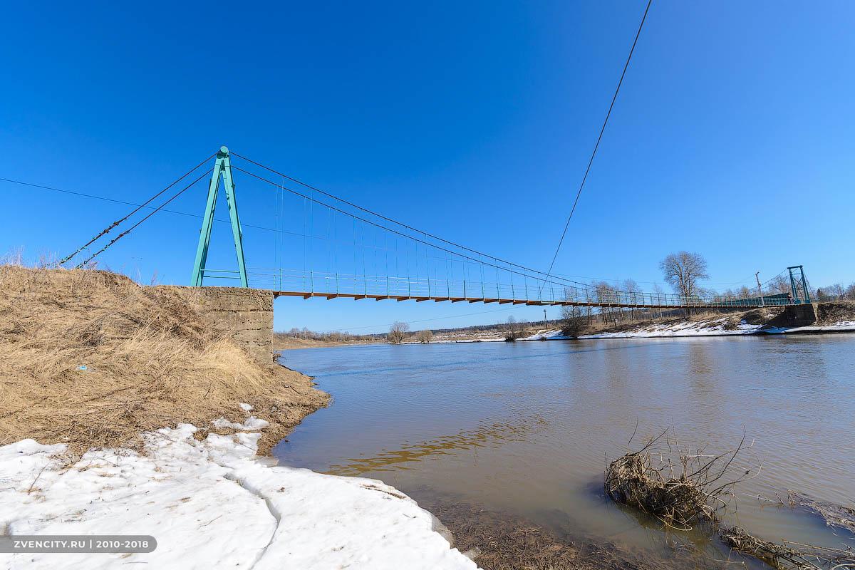 Самый длинный подвесной мост через Москву-реку